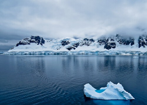 Icebergs and mountains in Antarctica