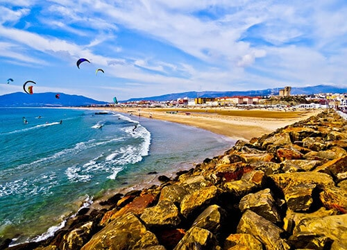 Kite surfing in Tarifa, Spain