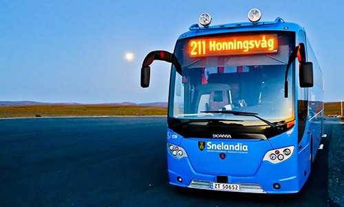 Local bus from Nordkapp to Honningsvag