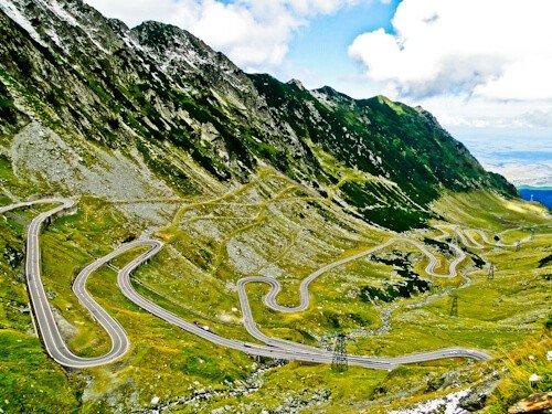 The curvy windy roads of the Transfagarasan Road, Transylvania, Romania