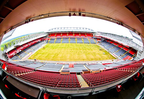 Anfield, Liverpool FC stadium tour. View from the main stand