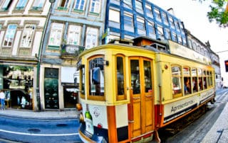 Tram on the streets of Porto