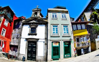 Colourful houses in Porto historic UNESCO city
