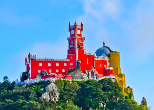 Pena Palace, Red facade, viewed from the castle of the moors