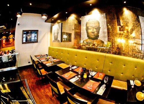 Sukhothai Leeds City Centre, restaurant and Buddha decorations