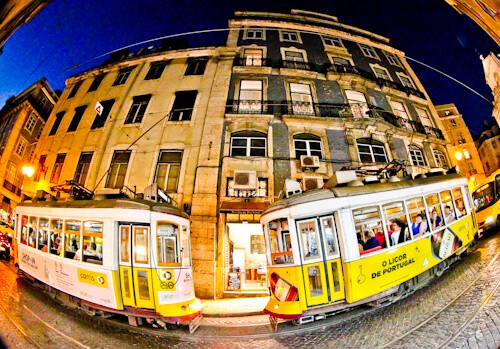 Yellow tram, Lisbon, Portugal