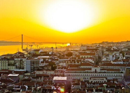 Sunset from the Sao Jorge castle viewpoint, Lisbon