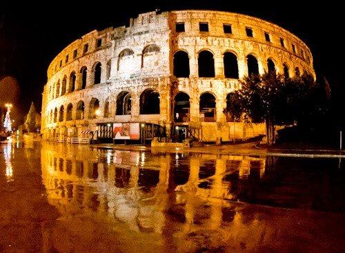 Pula Arena Croatia Roman Amphitheater, at night