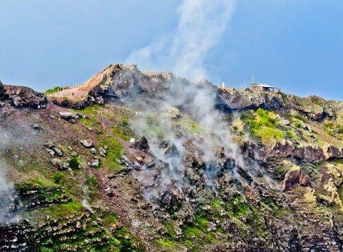Mount Vesuvius Volcano - the steaming crater