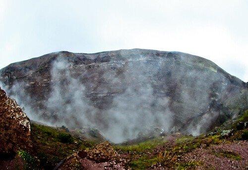Mount Vesuvius Volcano - steaming crater