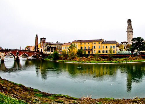 Pietra Roman Bridge (Ponte Pietra) over the Adige river in the UNESCO city of Verona
