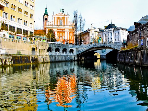 Triple Bridge from the Ljubljanica river, Ljubljana, Slovenia