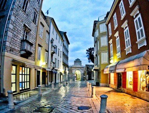 the narrow streets of Old Town Zadar Croatia