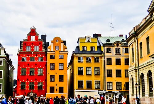Landmarks of Stockholm - Colorful houses of Gamla Stan