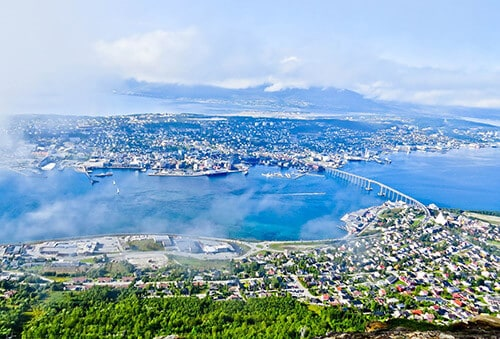 A view of Tromsø from the cable car