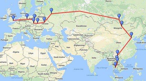 London to Bangkok by land