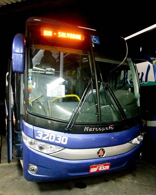 Overnight bus from Rio to Salvador, 30 hours, 292 Reais