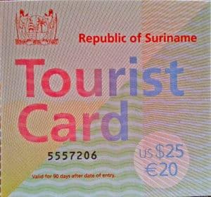 Suriname visa / tourist card