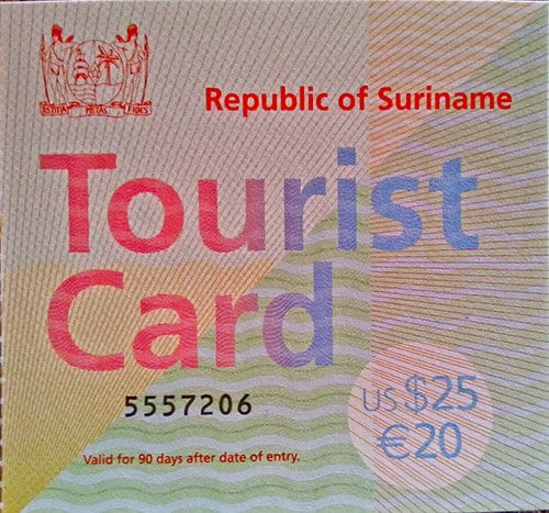Cayenne French Guiana - Suriname visa / tourist card