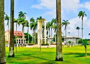 Cayenne French Guiana - Place des Palmistes - Statue of Felix Eboue