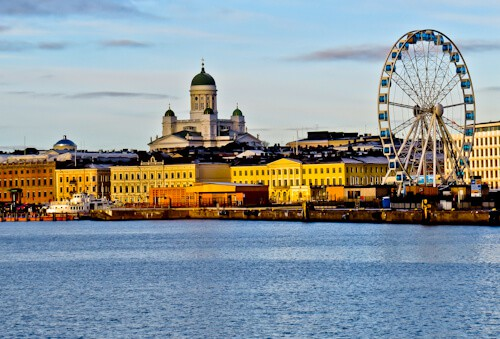 Helsinki Cathedral and the Helsinki skyline, Finland