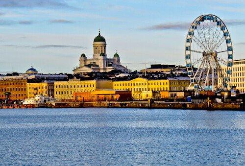 Helsinki Cathedral and the Helsinki skyline, Finland