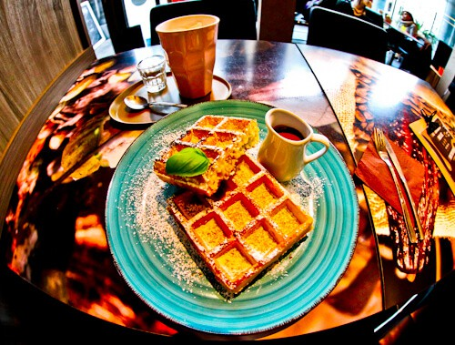 Belgian waffles and hot chocolate at Chocolato Cafe