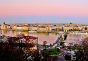 Chain Bridge and Budapest Skyline, Hungary