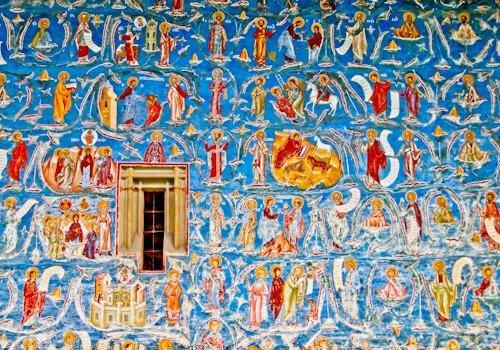 Suceava Romania - Voronet Monastery exterior painted wall
