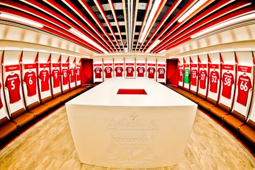 Anfield home team dressing room - Luverpool FC Stadium Tour
