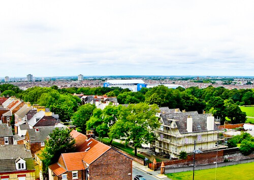 Anfield looking over Stanley Park to Everton FC at Goodison Park