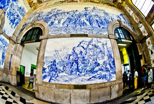 Azulejos in Sao Bento Train Station, Porto