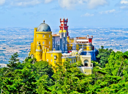 Pena Palace viewed from the High Cross, Sintra