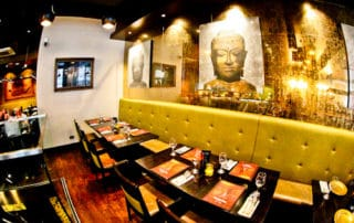 Sukhothai Leeds City Centre, restaurant and Buddha decorations