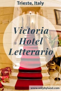 Where to stay in Trieste, Italy. Victoria hotel Letterario is the former home of James Joyce, the Irish poet. Today it is a hotel themed as a library. Each room has a private Jacuzzi. There is a delicious complimentary breakfast and super fast WiFi