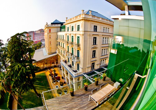 Kempinski Palace Portoroz Piran Istria Slovenia - modern wing - sea and palace view