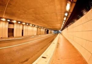 The Monaco Grand Prix tunnel. Monte Carlo pedestrian tunnel.