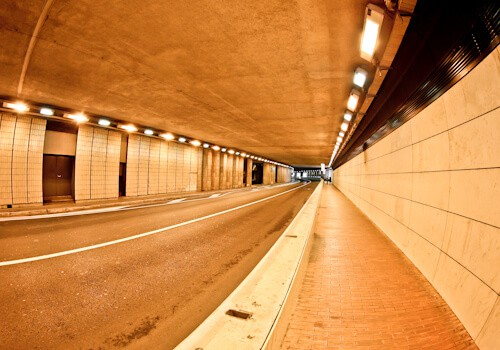 The Monaco Grand Prix tunnel. Monte Carlo pedestrian tunnel.