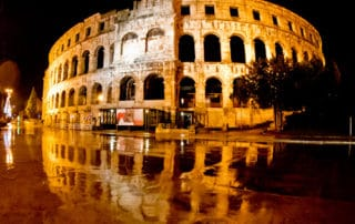 Pula Arena Croatia Roman Amphitheater, at night