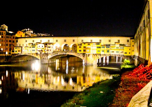 Ponte Veccio, Florence. Reflection at night.