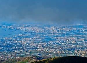 Mount Vesuvius Volcano - view of Naples from Mount Vesuvius