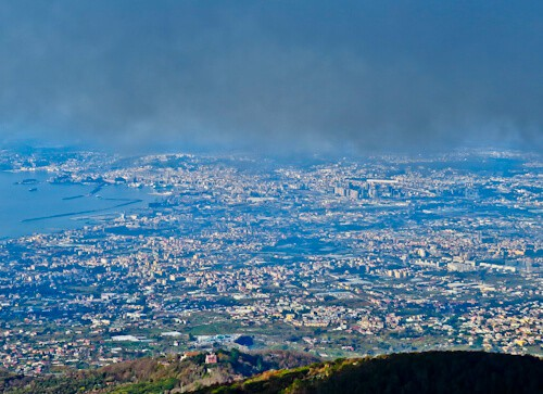 Mount Vesuvius Volcano - view of Naples from Mount Vesuvius