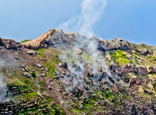 Mount Vesuvius Volcano - the steaming crater