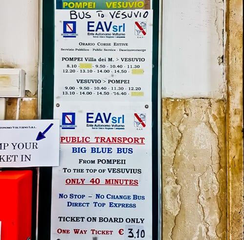 Mount Vesuvius Volcano - public bus schedule/ timetable