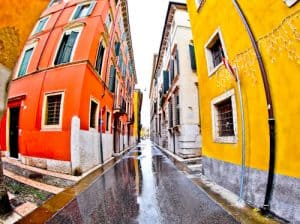 The colorful streets of the UNESCO world heritage city of Verona