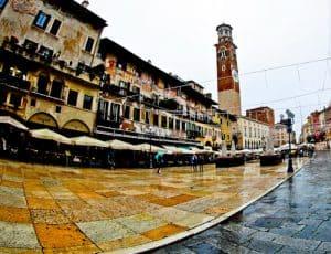 Erbe Square (Piazza delle Erbe) and Lamberti Tower (Torre dei Lamberti) in the UNESCO city of Verona