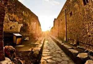 Ancient Pompeii street during sunset, Italy