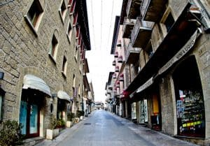 The streets of San Marino are lined with shops and museums