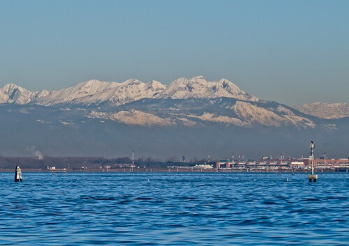 Venice Landmarks - Venetian Lagoon - view of the alps