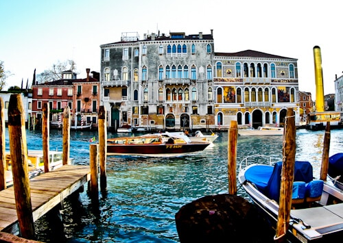 Venice Landmarks - a boat on the Grand Canal